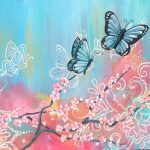 Butterfly and blooms mural