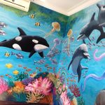Free Willy with Dolphins mural