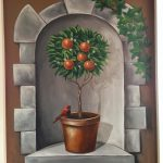 Peach-tree with claded arch mural